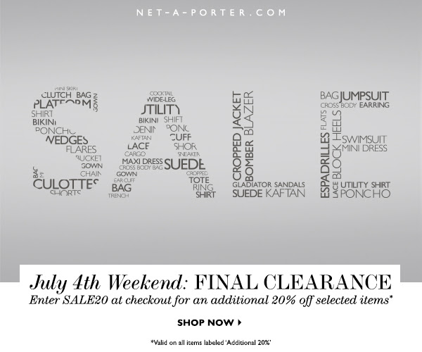 Enjoy An additional 20% Off The Net-A-Porter US Sale