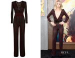 Abbey Lee's Balmain Striped Stretch-Knit Jumpsuit