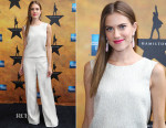 Allison Williams In Oscar de la Renta - 'Hamilton' Broadway Opening Night