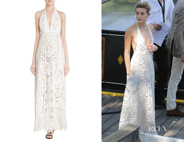 Amber Heard's Valentino Embroidered Cotton Maxi Dress