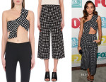 Ashley Madekwe's Self-Portrait Mono Checked Cropped Top And Self-Portrait Monochrome Checked Culottes