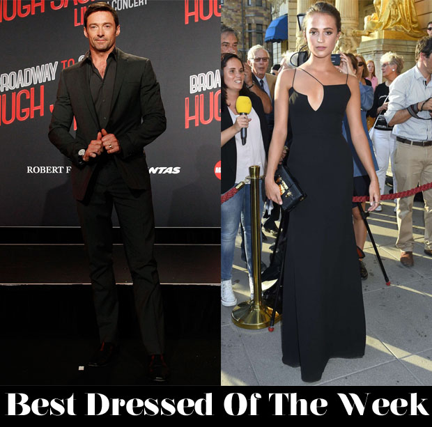 Best Dressed Of The Week - Alicia Vikander In Victoria Beckham & Hugh Jackman In Dolce & Gabbana