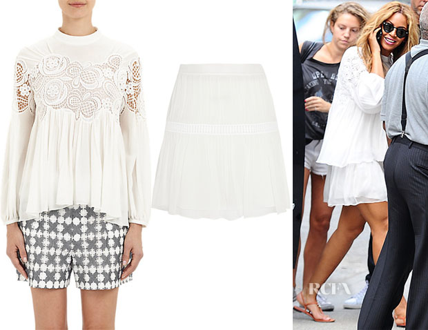 Beyonce Knowles' Chloé Lace-Inset Peasant Blouse & Chloé Guipure lace-trimmed silk-chiffon mini skirt