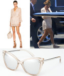 Beyonce Knowles' Zimmermann Vine Playsuit & Le Specs Naked Eyes Mirror Sunglasses