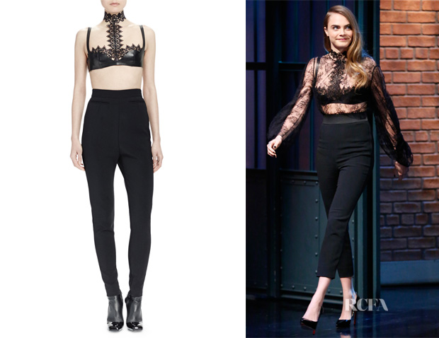 Cara Delevingne's Alexander McQueen Halter-Neck Leather Bra Top