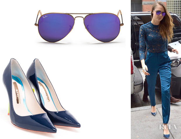 Cara Delevingne's Sophia Webster 'Coco Flamingo' Pumps And Ray-Ban 'Aviators' Sunglasses