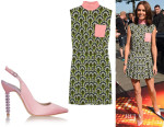 Cheryl Fernandez-Versini's Miu Miu Printed Dress And Sophia Webster 'Tyra' Satin Pumps