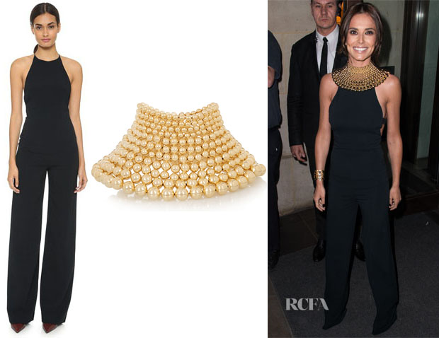 Cheryl Fernandez-Versini's Narciso Rodriguez Harness Back Jumpsuit And Rosantica Mille Bolle Gold-Tone Choker