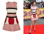 Cheryl Fernandez-Versini's RED Valentino Colour-Block Leather Mini Dress