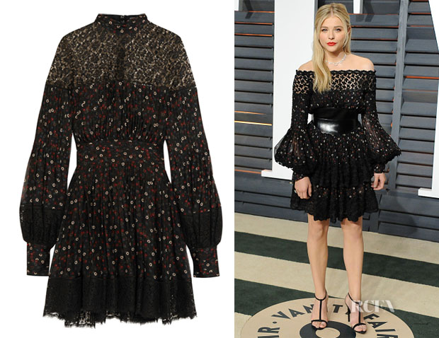 Chloe Grace Moretz' Alexander McQueen Lace-Trimmed Floral-Print Silk Mini Dress