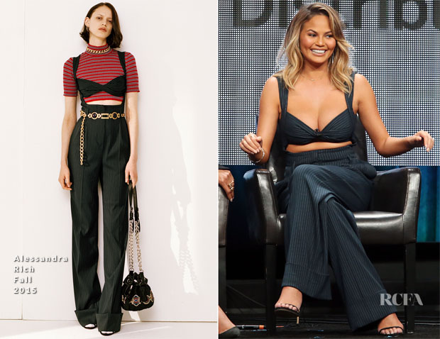 Chrissy Teigen In Alessandra Rich -  The Fab Life TCA Panel
