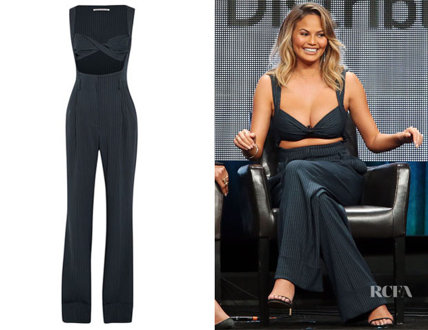 Chrissy Teigen's Alessandra Rich Pinstriped Silk-Blend Jumpsuit