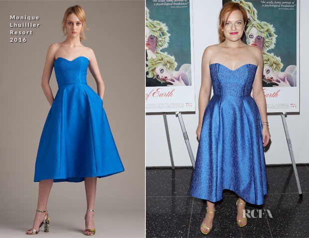 Elisabeth Moss In Monique Lhuillier - 'Queen Of Earth' New York Premiere