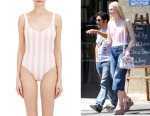 Elle Fanning's Solid & Striped One-Piece 'Anne-Marie' Swimsuit