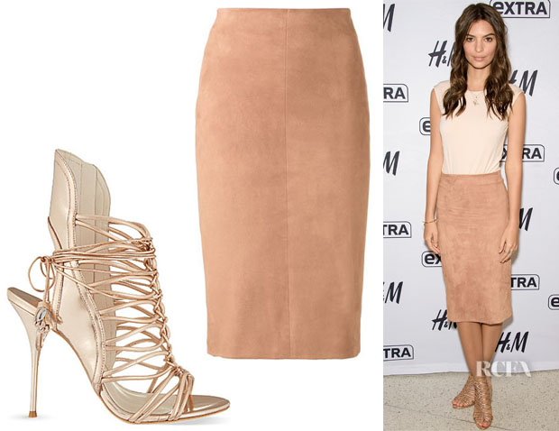 Emily Ratajkowski's Brunello Cucinelli Pencil Skirt And Sophia Webster 'Lacey' Metallic Leather Strappy Sandals