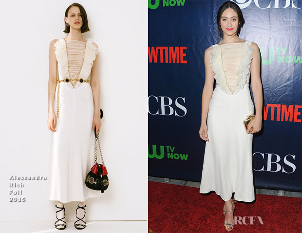 Emmy Rossum In Alessandra Rich - CBS' 2015 Summer TCA Party