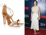 Emmy Rossum's Aquazzura 'Linda' Metallic Leather Sandals