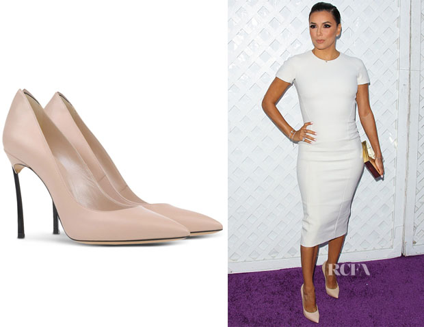 Eva Longoria's Casadei Blade Metal-Heeled Leather Pumps