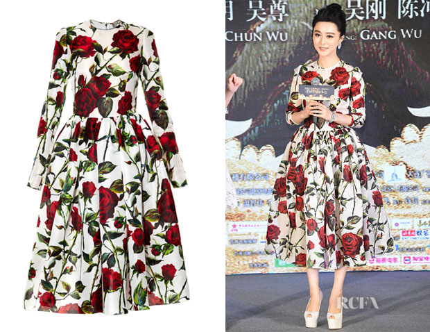 Fan Bingbing's Dolce & Gabbana Rose-Print Silk Midi Dress