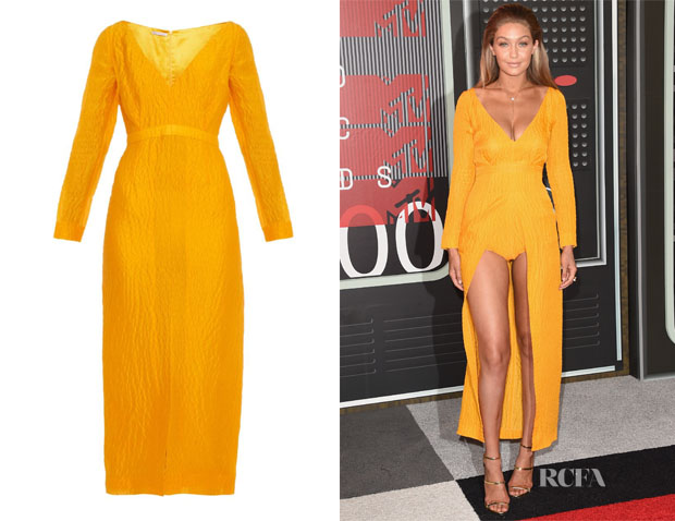 Gigi Hadid's Emilia Wickstead Emma Slit-Front Jacquard Dress