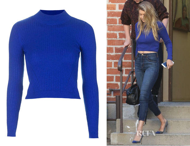 Gigi Hadid's Topshop Ribbed Wool Blend Cropped Sweater