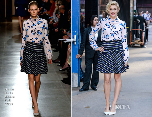 Greta Gerwig In Oscar de la Renta - Good Morning America
