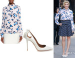Greta Gerwig's Oscar de la Renta Scattered Pansies Print Blouse And Aquazzura 'Forever Marilyn' Leather Pumps