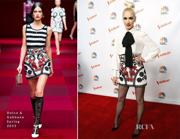Gwen Stefani In Elisabetta Franchi & Dolce & Gabbana - 'The Voice' Press Conference