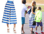 Gwyneth Paltrow's Alice + Olivia High-Waist Striped Pleated Culottes