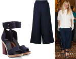 Gwyneth Paltrow's Mother Of Pearl Elasticated Waist Culottes And Pierre Hardy Sandals