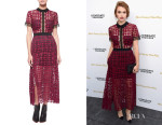 Holland Roden's Self Portrait Short-Sleeve Guipure-Lace Midi Dress