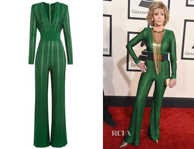 Jane Fonda's Balmain Wide Leg Jumpsuit - Red Carpet Fashion Awards