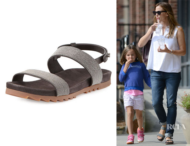 3bb537050946 Jennifer Garner s Brunello Cucinelli  Monili  Double-Strap Sandals - Red  Carpet Fashion Awards