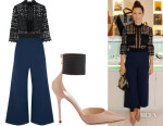 Jessica Biel's Self-Portrait Cropped Guipure Lace and Crepe Jumpsuit  & Jimmy Choo Trinny Pumps