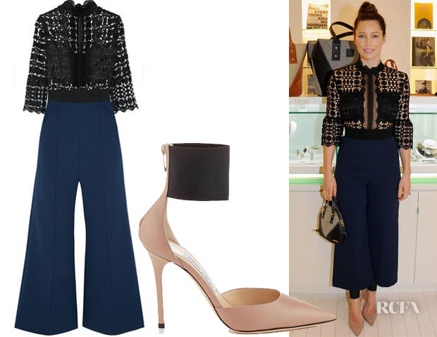 82b01f7734df Jessica Biel s Self-Portrait Cropped Guipure Lace and Crepe Jumpsuit    Jimmy Choo Trinny Pumps