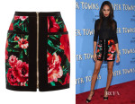 Joan Smalls' Balmain Floral-Print Velvet Mini Skirt