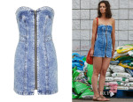 Katie Holmes' Topshop 'Debbie' Zip Front Denim Dress