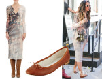 Katy Perry's Raquel Allegra Tie-Dye Crinkled Dress & Repetto Cendrillon Leather Ballet Flats