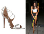 Kendall Jenner's Aquazzura 'Linda' Metallic Leather Sandals