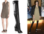 Kendall Jenner's Bella Dahl Sleeveless Shirt Dress And Givenchy Thigh High Boots