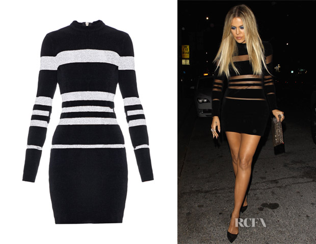 Khloe Kardashian's Balmain Long-Sleeved Striped Chenille Mini Dress