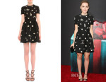 Kiernan Shipka's Valentino Daisy-Embroidered Fit-And-Flare Dress