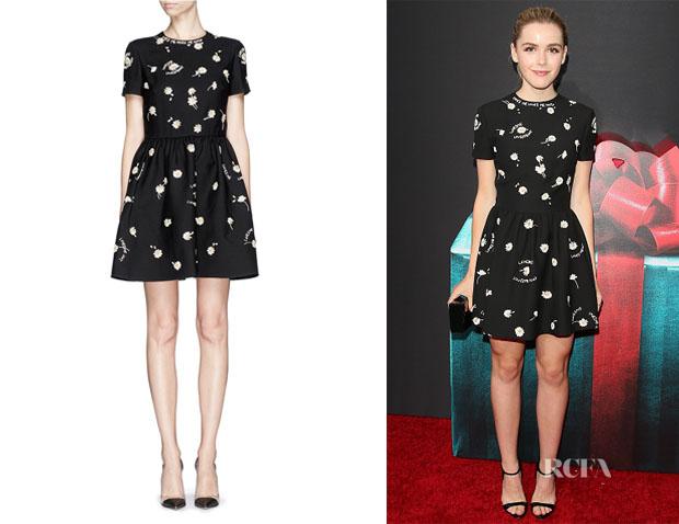 Kiernan Shipka's Valentino Daisy-Embroidered Fit-And-Flare Dress