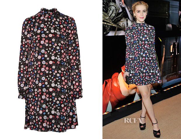 Kiernan Shipka's Valentino Floral-Print Silk-Georgette Mini Dress