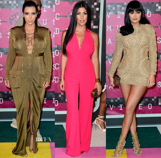 Kim Kardashian, Kourtney Kardashian & Kylie Jenner In Balmain - 2015 MTV Video Music Awards #VMAs