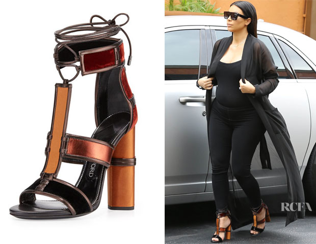 Kim Kardashian's Tom Ford Patchwork Leather Cage Sandals