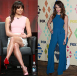 Lea Michele In Oscar de la Renta & Elie Saab -  'Scream Queens' 2015 Summer TCA Tour Panel & FOX All-Star Party