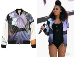 Leigh-Anne Pinnock's 3.1 Phillip Lim Printed Scuba-Jersey Bomber Jacket