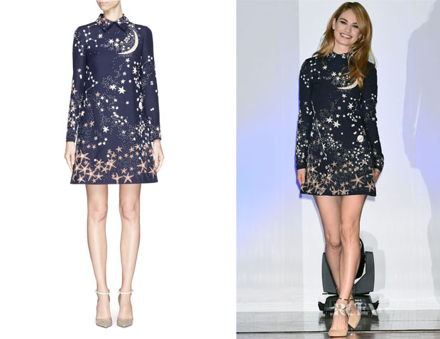 Lily James' Valentino Cosmos Beaded Embroidery Wool-Silk Crepe Dress