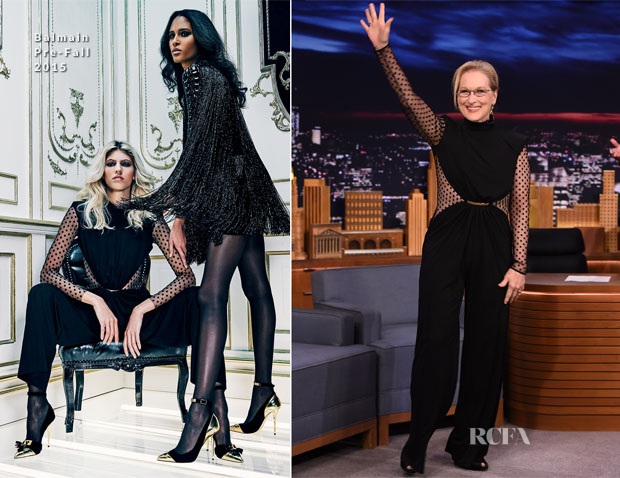Meryl Streep In Balmain -  The Tonight Show Starring Jimmy Fallon